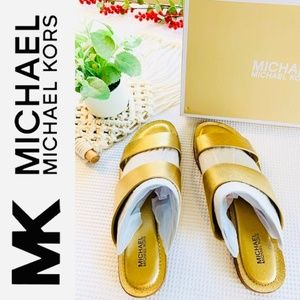 MICHAEL KORS NIB Metallic Gold Leather Sandal